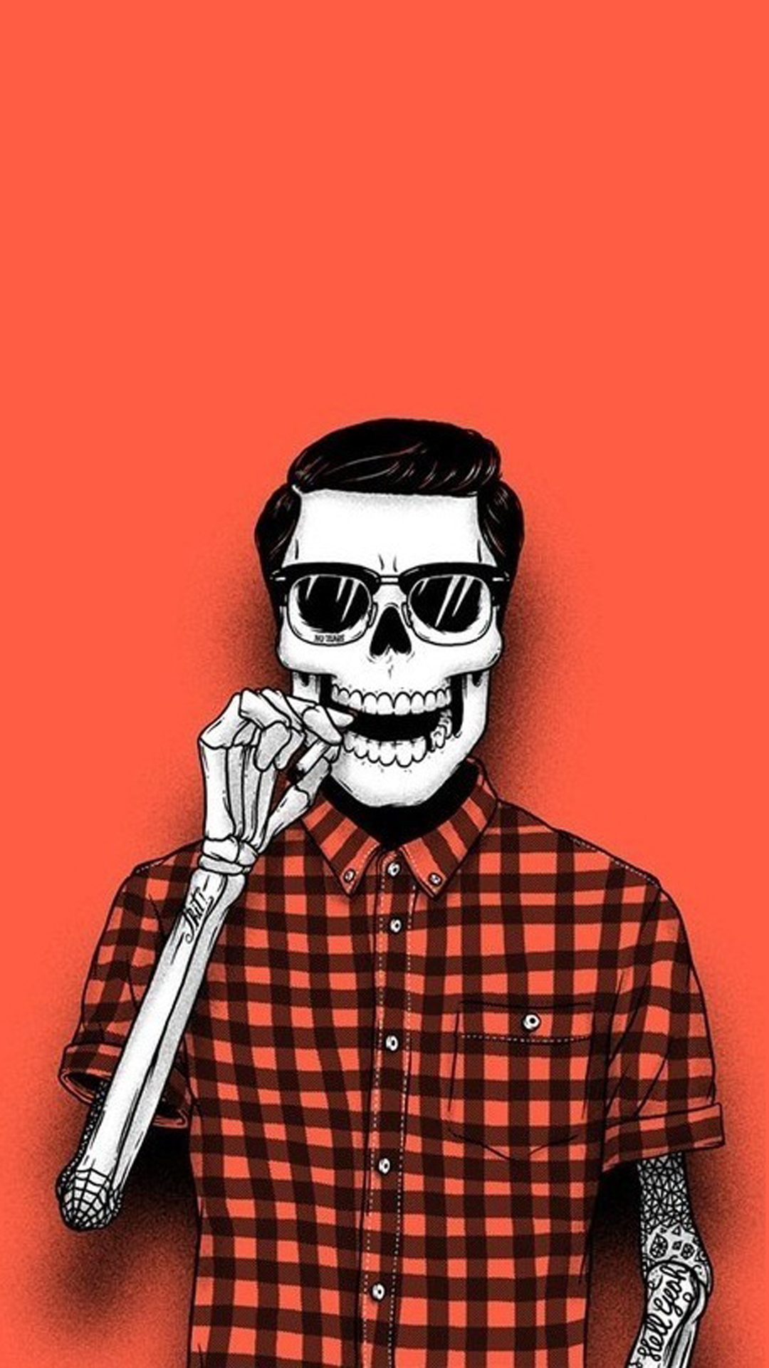 Hipster skeleton Halloween