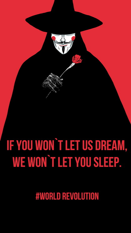 Black red revolution v for vendetta