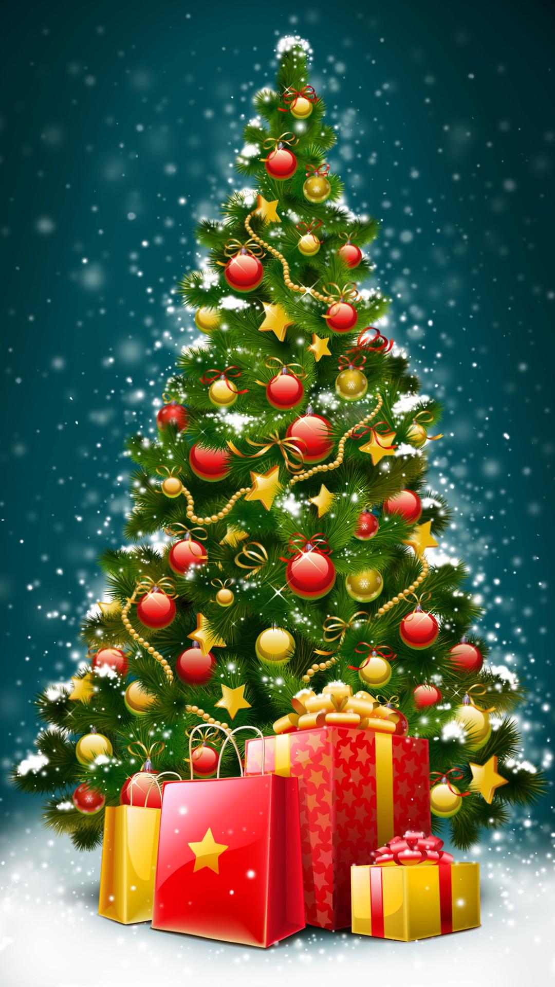 Beautiful christmas tree htc one wallpaper
