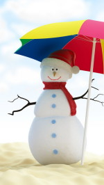 Christmas Snowman On Beach
