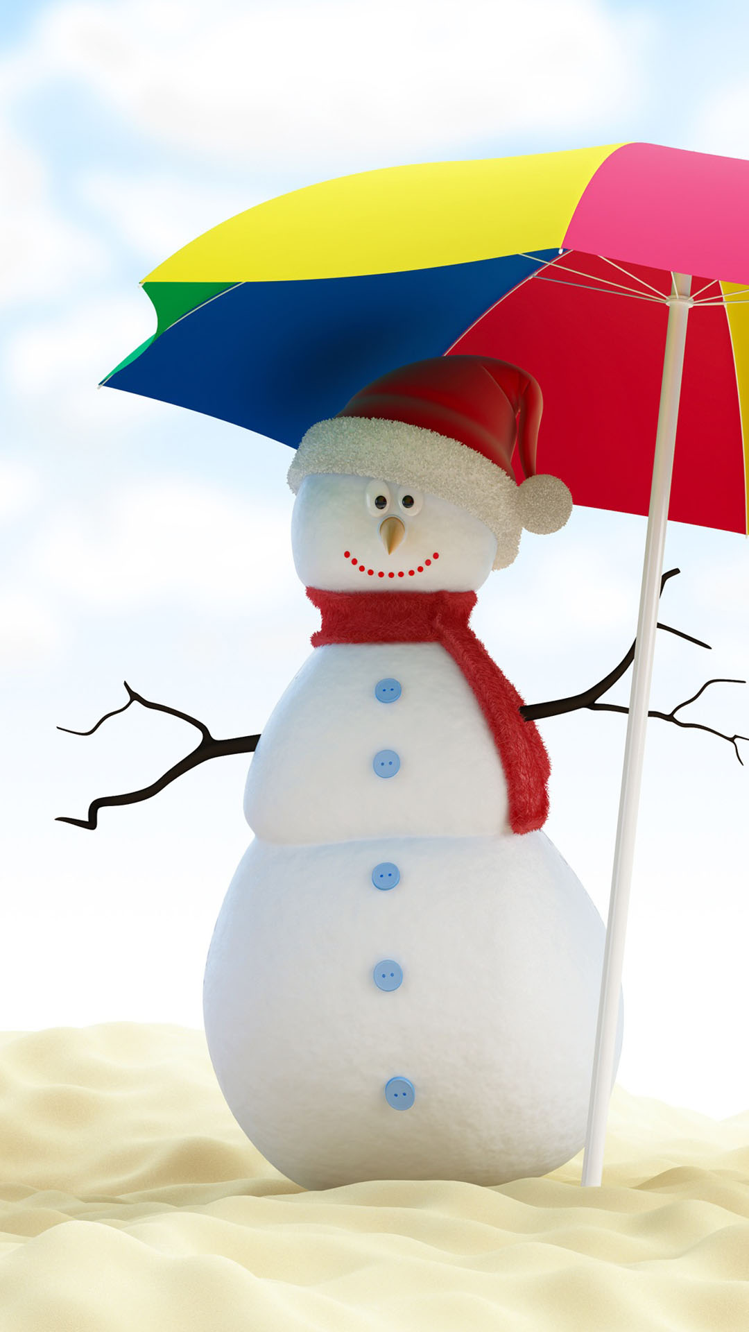Christmas snowman on beach best htc one wallpapers