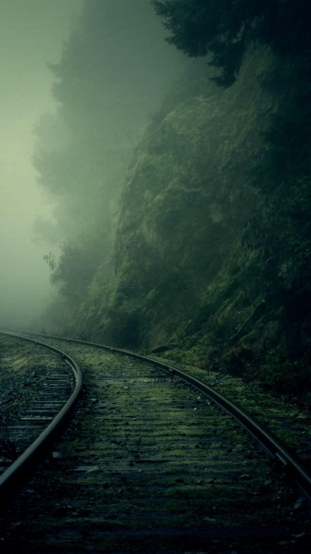Railroad foggy valley