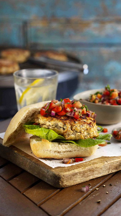 Spicy Chicken Burgers with Red Pepper Salsa