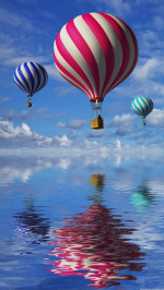 Air balloons water surface