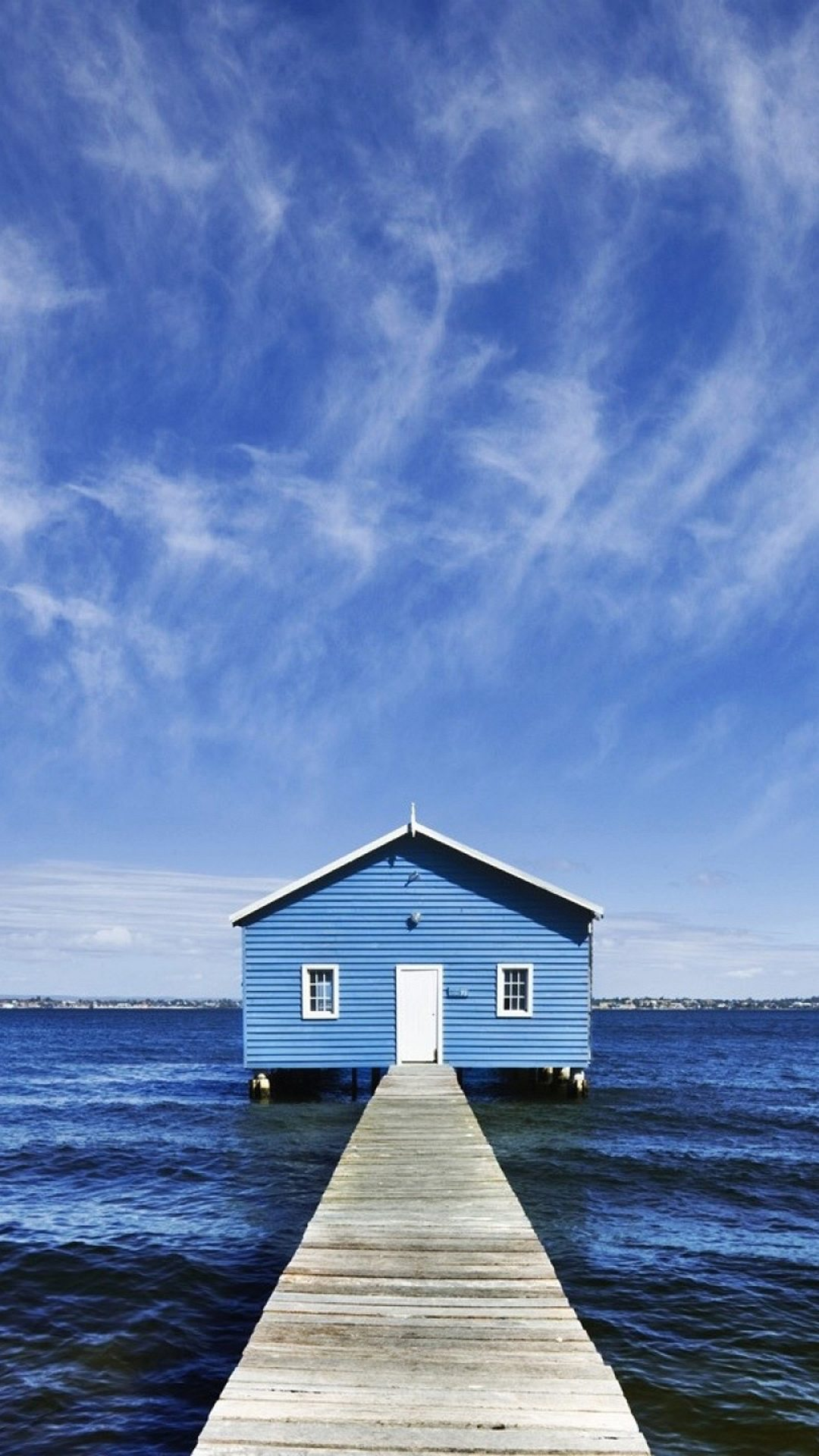 Blue house on sea