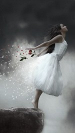Girl On A Cliff White Dress Red Rose