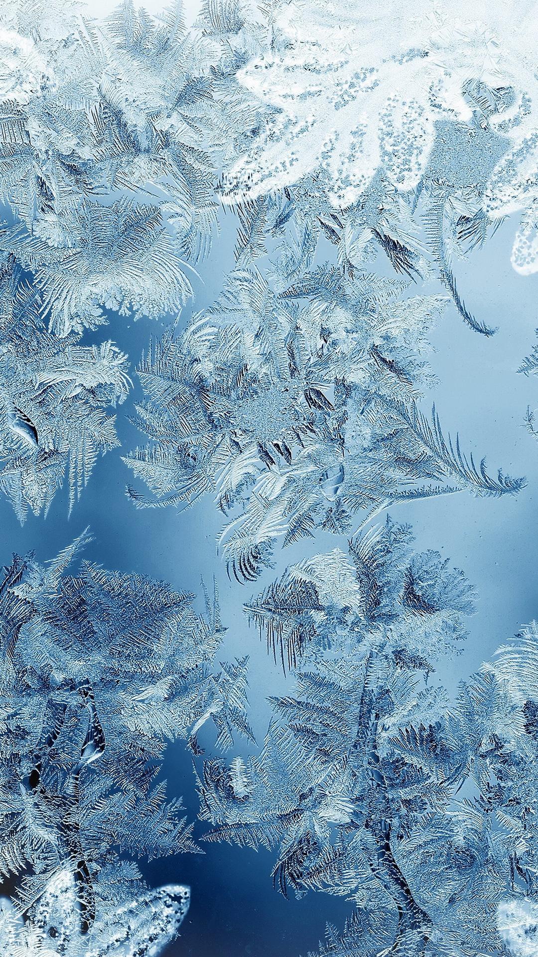 Ice pattern blue snow