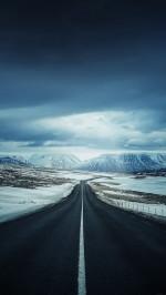 Road snow mountains
