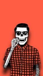 Hipster skeleton Halloween