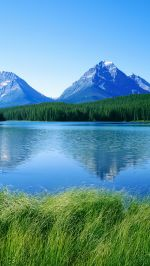Blue Lake Mountains Green Grass