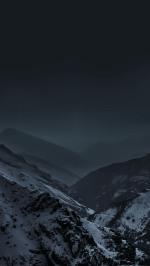 Mountains At Night Fog Snow